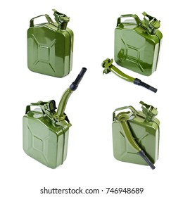 Collection of Jerrycan with flexi pipe spout on a white background