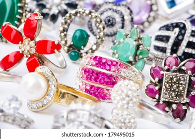 Collection of jewellery rings on white