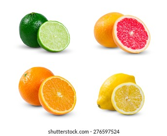 Collection of juicy citrus  slices fruits - orange, lemon (yellow lime), lime and grapefruit. rich with vitamins. isolated on white background.