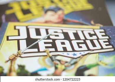 A collection of Justice League superhero comic books produced by DC Comics and made into a Hollywood feature film directed by Zack Snyder and Joss Whedon.