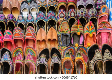 "Collection of ""Jutti"" traditional colorful shoes of Rajasthan, India"