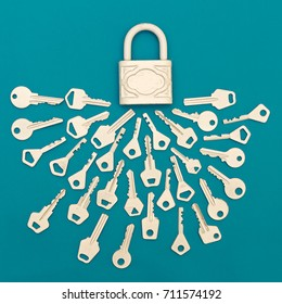 Collection of keys and lock  Minimal art style