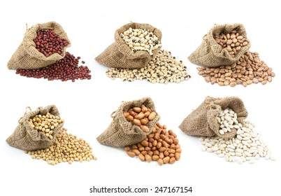 collection of legumes in canvas sack isolated on white background