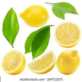 collection of lemons isolated on the white background