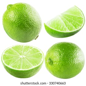 collection of lime isolated on the white background
