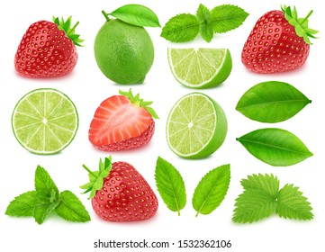 Collection of lime and strawberry isolated on a white background with clipping path. Variation on a Mojito theme.