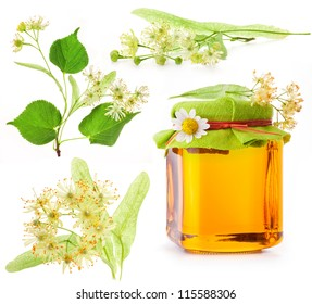 Collection of Linden flowers and Honey in glass jar isolated on white background