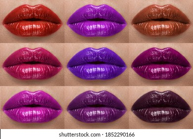 Collection of lips colorful hues. The palette of lipsticks. Close-up.