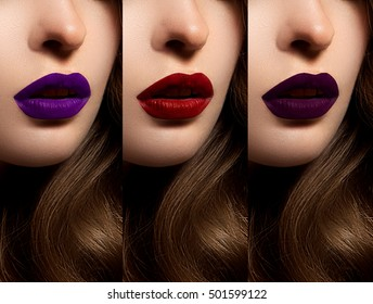 Collection: lips red and purple hues. The palette of lipsticks. Close-up