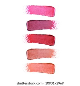 Collection of Lipstick Smudge Isolated on White Background. Makeup Smudge. Cosmetic Smear. Liquid Foundation Strokes. Skin Tone Cream. Lip Gloss Swatches. Grooming Products