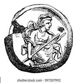 Collection of Luynes, Medal of Cyzicus, vintage engraved illustration. Magasin Pittoresque 1873.