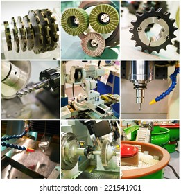 collection of machine working parts at factory