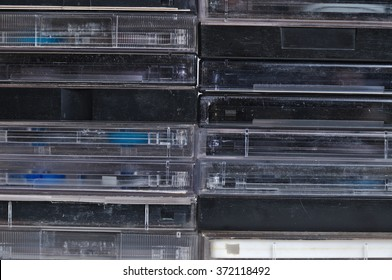 Collection of magnetic tape audio cassettes. Vintage and retro theme