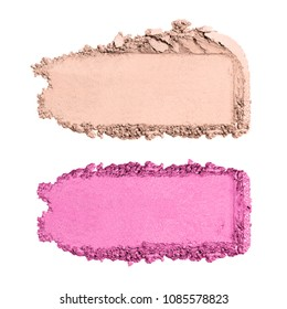 Collection of Makeup Blush Powder Isolated on White Background. Pink Matte Eye Shadow Grooming Products. Foundation Swatches. Makeup Smudge. Eyeshadow Smears