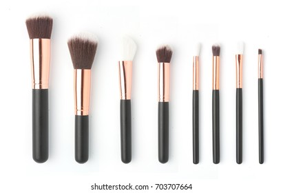 Collection makeup brushes isolated over white background