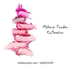 Collection of Makeup Eye Shadow Powder Isolated on White Background. Set of Matte Blush Powder. Grooming Products. Foundation Powder Swatches. Make Up Smudge. Eyeshadow Smears. Make-Up Products
