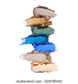 Collection of Makeup Face Powder Isolated on White Background. Matte Eye Shadow Powder. Grooming Products. Foundation Powder Swatches. Makeup Smudge. Eyeshadow Smears. Makeup Products