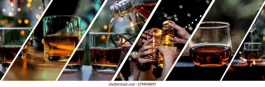 Collection of man hand holding a glass of whiskey on wooden bar.