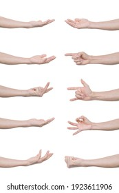 Collection of man hands gestures Isolated on white background with clipping path.