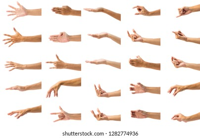 Collection of man's hand gesture isolated on white background. Set of hand gesturing against white background.
