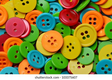 Collection of many colorful buttons