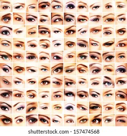 Collection of many different and beautiful female eyes