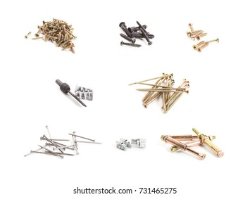 A collection of many metal screws isolated on a white background