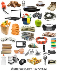 Collection of many objects isolated on white background