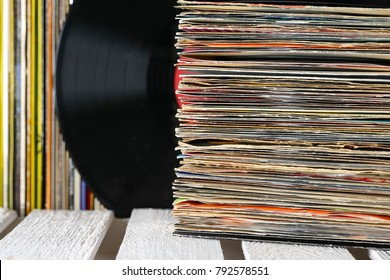 Collection of many turntable vinyl records
