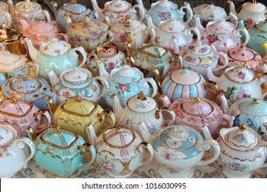 Collection of massed Vintage Teapots - display - high tea party