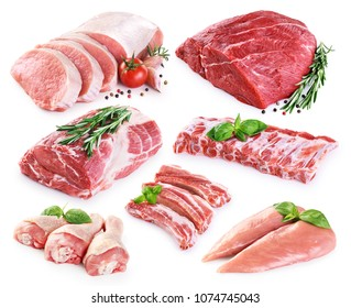 Collection of meat. Beef, pork, chicken. Different parts of meat with spices.