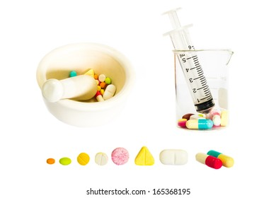 The collection of Medical is composed of syringe on beaker ,mortar and pestle,various shape of drugs on white background (isolated)
