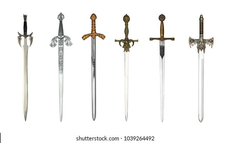 Collection of medieval swords isolated on white
