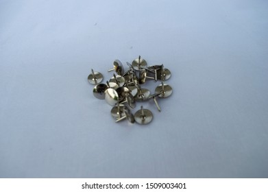 Collection Metal thumb tack on white background