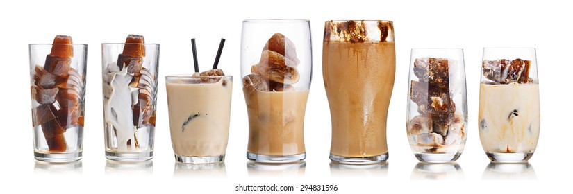 Collection of milk coffee cocktails from frozen coffee cubes in highball glasses. Iced milk freezer coffee