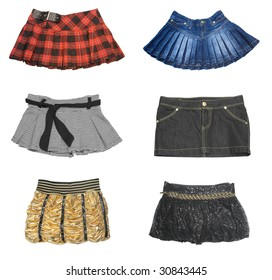 collection of mini skirt isolated on white background