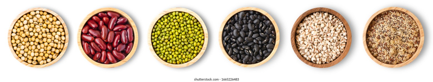 Collection of mix bean ( red kidney, green mung, black bean, soy beans and millet ) in wooden bowl isolated on white background. Top view. Flat lay.