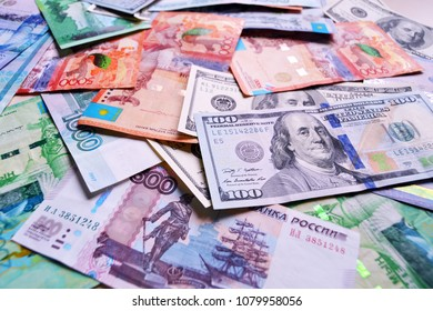 Collection of mixed paper money, dollar and ruble end tenge . background money collection . Kazakhstan money tenge national currency 20 000 Tenge banknote .