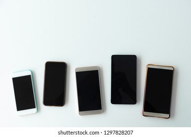 Collection of mobile on table. Wireless connection devices.
