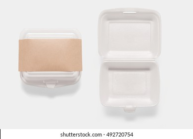 Collection of of mockup styrofoam box set isolated on white background. Copy space for text and logo. Clipping Path included on white background.