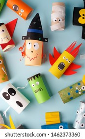 Collection of Monsters from toilet tube for halloween decor. A terrible craft. School and kindergarten. Handcraft creative idea, seasonal autumn holiday pattern