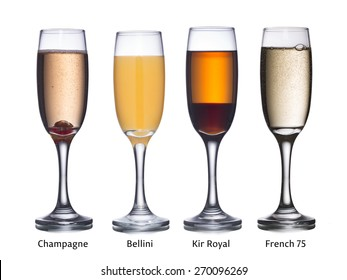 Collection of most popular alcoholic cocktails with sparkling wine: Champagne, Bellini, Kir Royal and French 75 in flute glasses.