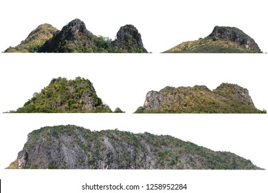 collection of mountain isolate on white background