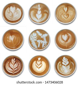 Collection of mugs of latte art coffee isolted on white background.