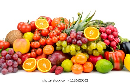 Collection multi-colored vegetables, fruits and berries isolated on white background. Free space for text.