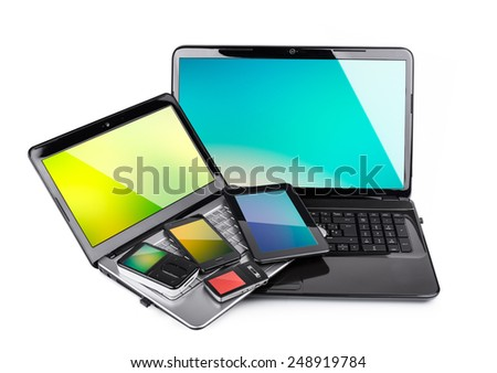 Collection Multimedia Devices Coloured Wallpapers Isolated Stock