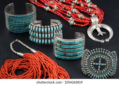 Collection of Native American Turquoise, Silver and Coral Bead Jewelry. Cuff Bracelets and Bead Necklaces.