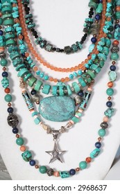 collection of necklaces in turquoise and other accent stones