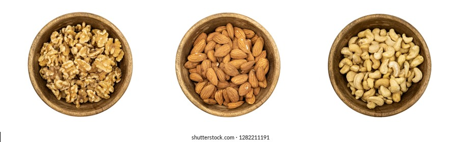 Collection of nuts on a white background - Symbols of the Jewish holiday of Tu Bishvat.