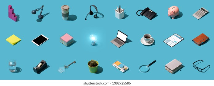 Collection of office objects, electronic devices and tools, business and office work background
